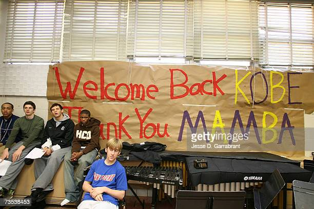 Kobe Bryant of the Los Angeles Lakers is welcomed by a sign made by students while visiting his alma mater Lower Merion High School March 9 2007 in...