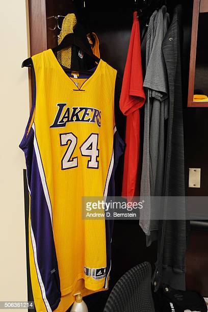Kobe Bryant of the Los Angeles Lakers jersey before the game against the San Antonio Spurs on January 22 2016 at STAPLES Center in Lost Angeles...