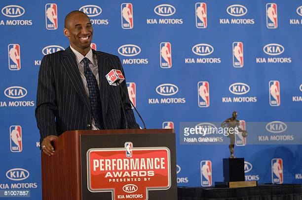 Kobe Bryant of the Los Angeles Lakers laughs while answering questions during the 200708 NBA Most Valuable Player Award press conference presented by...