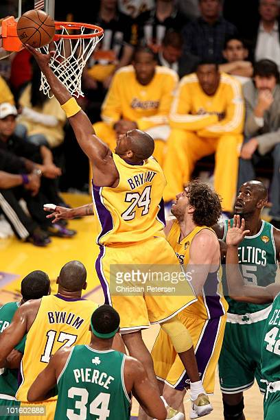 Kobe Bryant of the Los Angeles Lakers lays the ball up over the Boston Celtics in Game One of the 2010 NBA Finals at Staples Center on June 3, 2010...