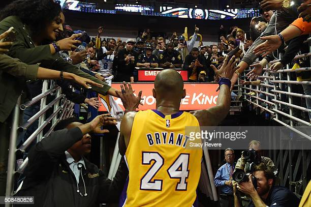 Kobe Bryant of the Los Angeles Lakers leaves the court following a game against the New Orleans Pelicans at the Smoothie King Center on February 4...