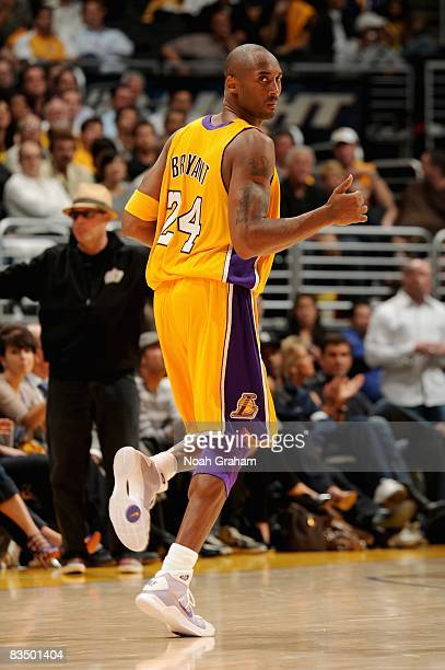 Kobe Bryant of the Los Angeles Lakers looks back during the game against the Portland Trail Blazers on October 28 2008 at Staples Center in Los...