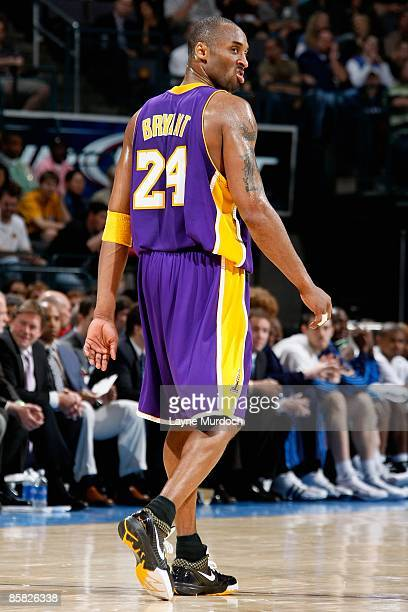 Kobe Bryant of the Los Angeles Lakers looks back during the game against the Oklahoma City Thunder on March 24 2009 at the Ford Center in Oklahoma...