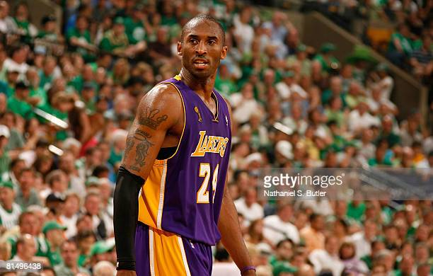 Kobe Bryant of the Los Angeles Lakers looks back in Game Two of the 2008 NBA Finals against the Boston Celtics on June 8 2008 at the TD Banknorth...