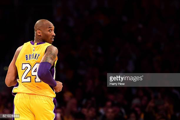 Kobe Bryant of the Los Angeles Lakers looks back in the first half while taking on the Utah Jazz at Staples Center on April 13, 2016 in Los Angeles,...