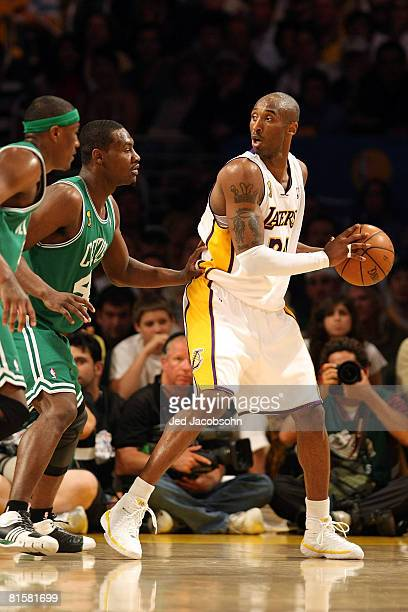 Kobe Bryant of the Los Angeles Lakers looks for an open pass over Tony Allen and James Posey of the Boston Celtics in Game Five of the 2008 NBA...