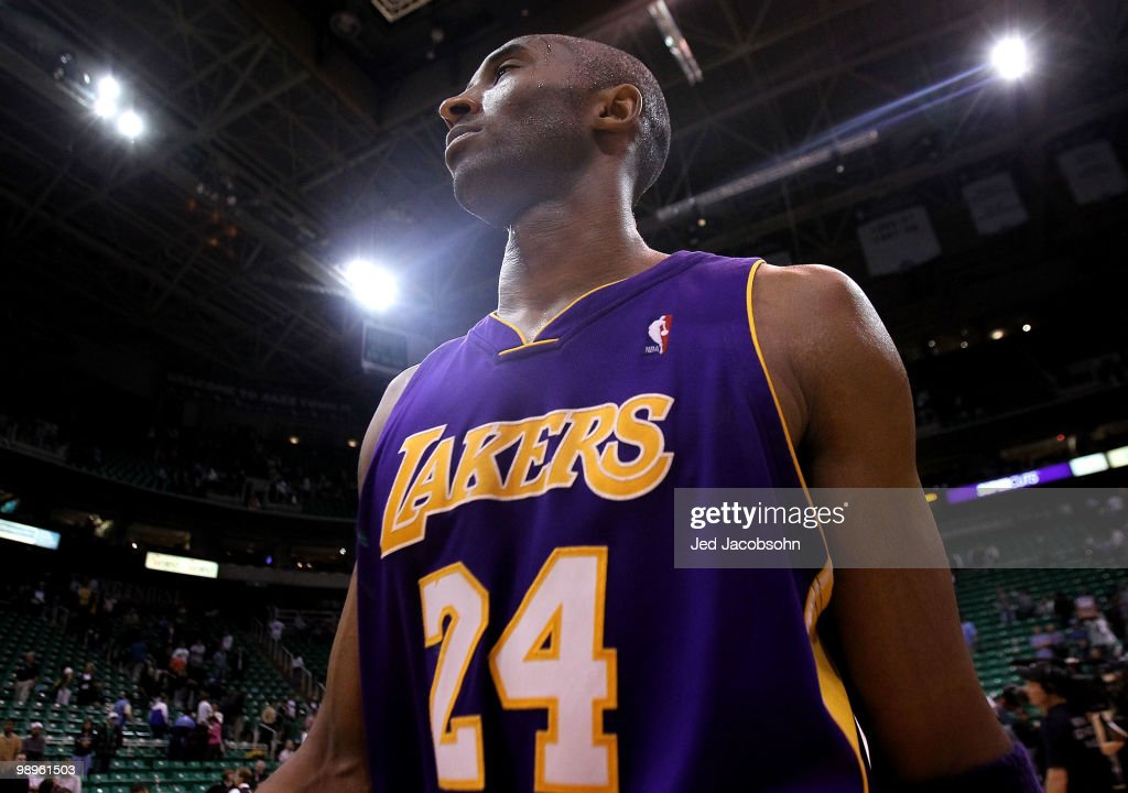 Kobe Bryant #24 of the Los Angeles Lakers looks on after defeating the Utah Jazz after Game Four of the Western Conference Semifinals of the 2010 NBA Playoffs on May 10, 2010 at Energy Solutions Arena in Salt Lake City, Utah.