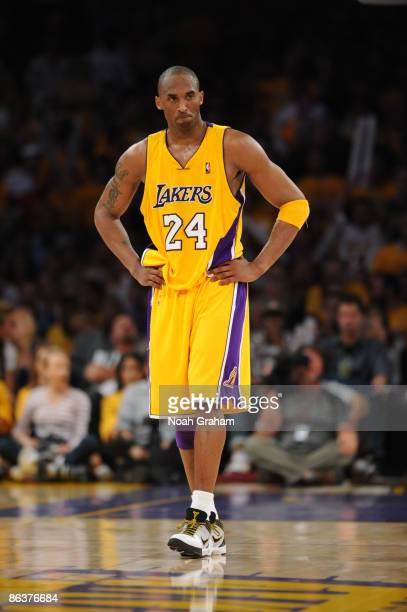 Kobe Bryant of the Los Angeles Lakers looks on against the Houston Rockets in Game One of the Western Conference Semifinals during the 2009 NBA...