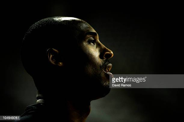 Kobe Bryant of the Los Angeles lakers looks on before the NBA Europe Live match between Los Angeles Lakers and Regal FC Barcelona at the at Palau...