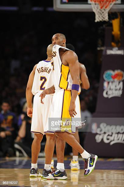Kobe Bryant of the Los Angeles Lakers looks on during a game against the Cleveland Cavaliers at Staples Center on December 25 2009 in Los Angeles...