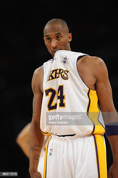 Kobe Bryant of the Los Angeles Lakers looks on during a game against the Cleveland Cavaliers at Staples Center on December 25, 2009 in Los Angeles,...