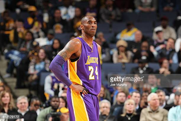 Kobe Bryant of the Los Angeles Lakers looks on during the game against the Memphis Grizzlies on February 24 2016 at FedExForum in Memphis Tennessee...