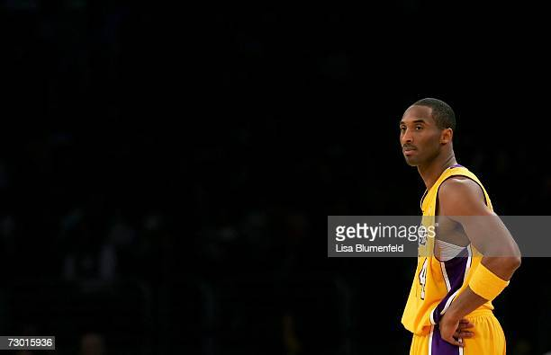Kobe Bryant of the Los Angeles Lakers looks on during the game against the Miami Heat on January 15 2007 at Staples Center in Los Angeles California...