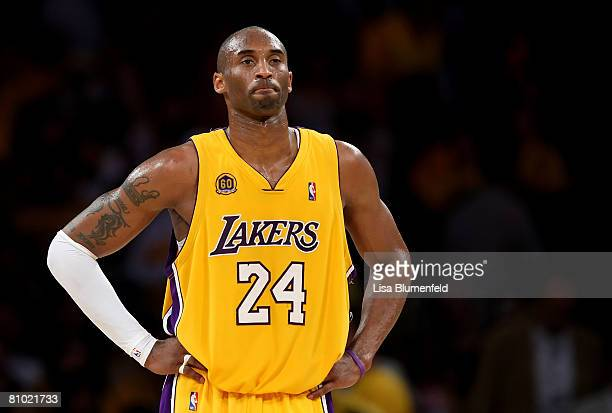 Kobe Bryant of the Los Angeles Lakers looks on during the game against the Utah Jazz in Game Two of the Western Conference Semifinals during the 2008...