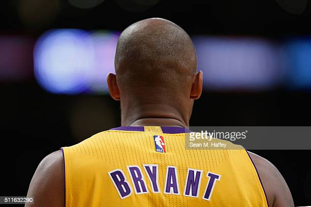 Kobe Bryant of the Los Angeles Lakers looks on during the second half of a game against the San Antonio Spurs at Staples Center on February 19 2016...