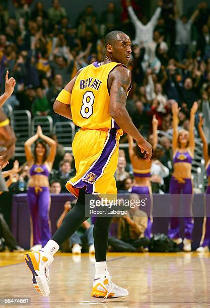 Kobe Bryant of the Los Angeles Lakers looks over his shoulder in the third quarter of their game against the Dallas Mavericks on December 20 2005 at...