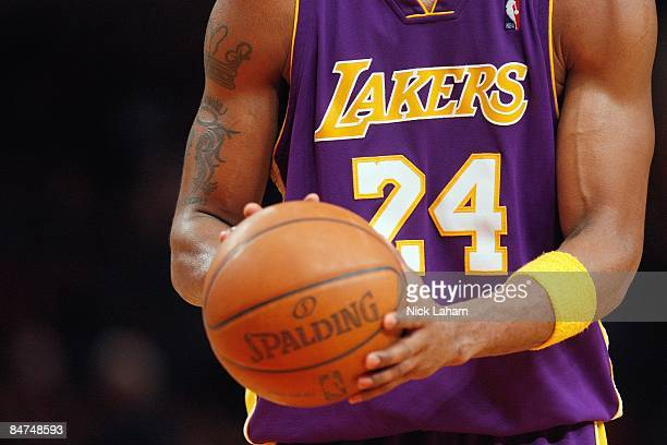 Kobe Bryant of the Los Angeles Lakers looks to make a free throw against the New York Knicks on February 2 2009 at Madison Square Garden in New York...