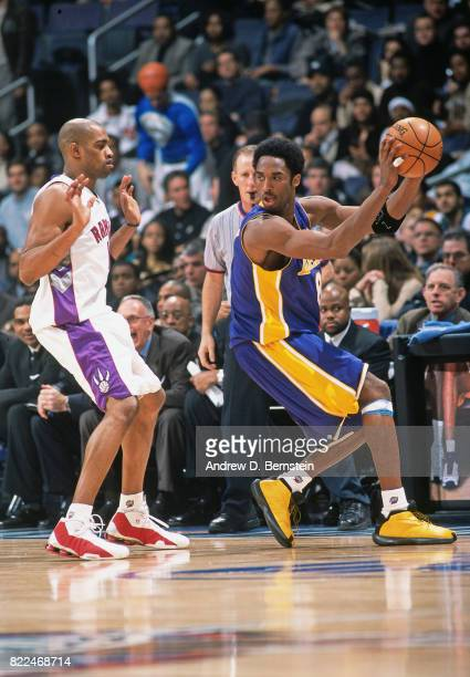 Kobe Bryant of the Los Angeles Lakers looks to pass during the 1997 Rookie Game played February 8 1997 at the Gund Arena in Cleveland Ohio NOTE TO...