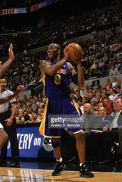 Kobe Bryant of the Los Angeles Lakers looks to pass in Game Five of the Western Conference Semifinals against the San Antonio Spurs during the 2003...