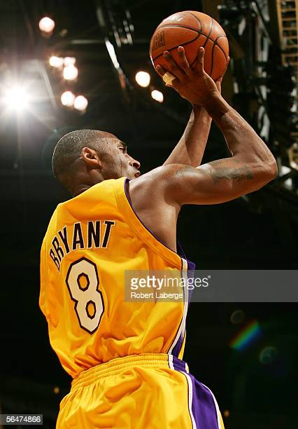 Kobe Bryant of the Los Angeles Lakers makes a jump shot in the third quarter of their game against the Dallas Mavericks on December 20 2005 at the...