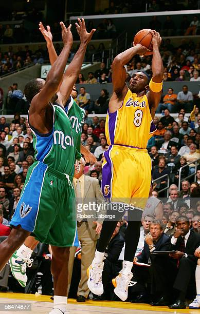 Kobe Bryant of the Los Angeles Lakers makes a jump shot in the third quarter of the game against the Dallas Mavericks on December 20 2005 at the...