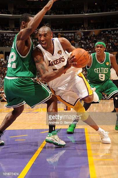 Kobe Bryant of the Los Angeles Lakers makes his way to the basket against the Boston Celtics in Game Two of the 2010 NBA Finals on June 6 2010 at...