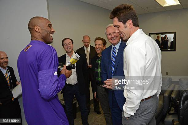 Kobe Bryant of the Los Angeles Lakers meets with owners Joe Lacob and Peter Guber executive board member Jerry West and general manager Bob Myers of...