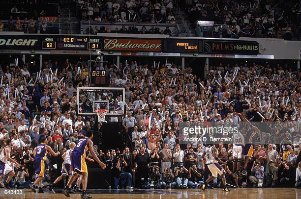 Kobe Bryant of the Los Angeles Lakers misses the final shot of game 5 of the Western Conference Finals during the 2002 NBA Playoffs against the...