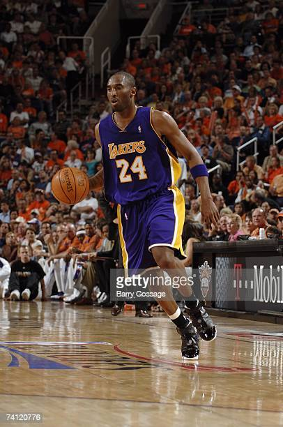 Kobe Bryant of the Los Angeles Lakers moves the ball against the Phoenix Suns in Game Five of the Western Conference Quarterfinals during the 2007...