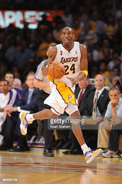 Kobe Bryant of the Los Angeles Lakers moves the ball up court against the Orlando Magic in Game Two of the 2009 NBA Finals at Staples Center on June...
