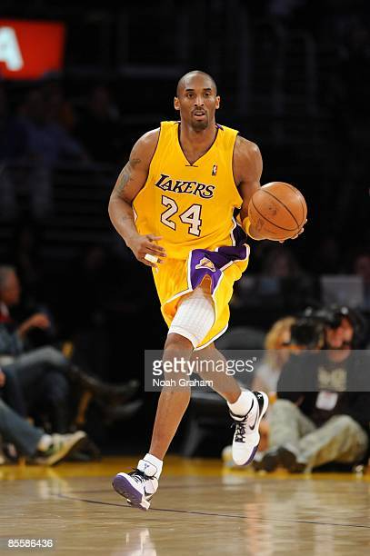 Kobe Bryant of the Los Angeles Lakers moves the ball up court during the game against the Golden State Warriors at Staples Center on March 19 2009 in...