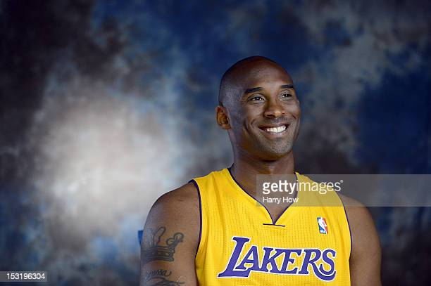 Kobe Bryant of the Los Angeles Lakers on a video set for members of the media during Media Day at Toyota Sports Center on October 1 2012 in El...