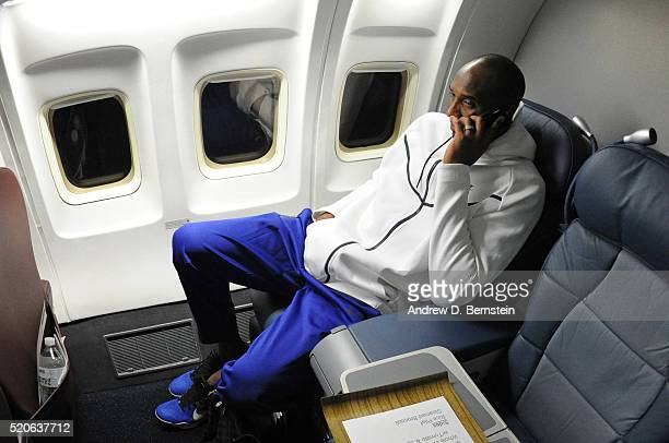 Kobe Bryant of the Los Angeles Lakers on the plane to travel back to Los Angeles California from Oklahoma City Oklahoma on April 11 2016 NOTE TO USER...