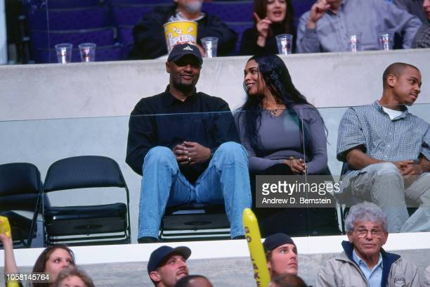 Kobe Bryant of the Los Angeles Lakers parents sit and watch during a game played circa 2000 at the Staples Center in Los Angeles, California. NOTE TO...