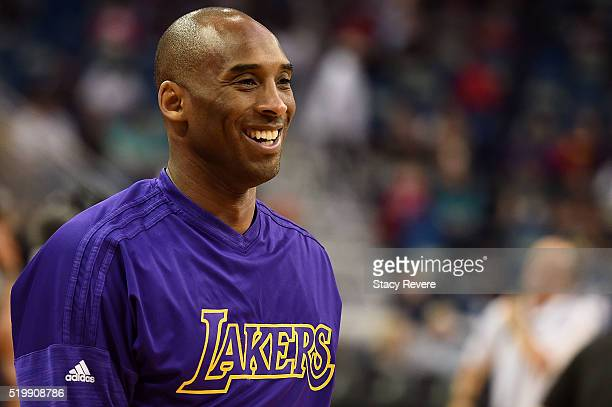Kobe Bryant of the Los Angeles Lakers participates in warmups prior to a game against the New Orleans Pelicans at the Smoothie King Center on April 8...