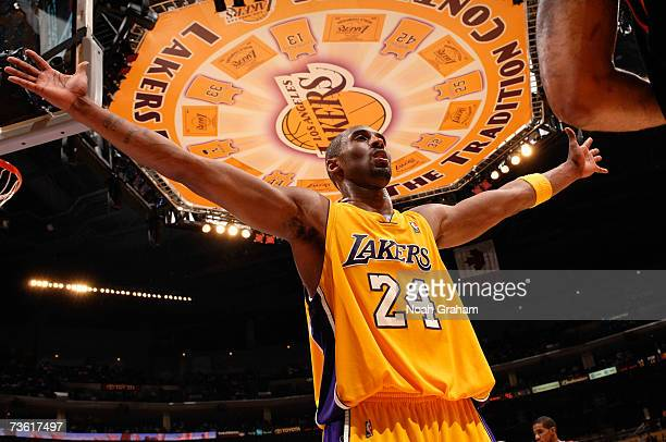 Kobe Bryant of the Los Angeles Lakers plays defense against the Portland Trail Blazers on March 16 2007 at Staples Center in Los Angeles California...