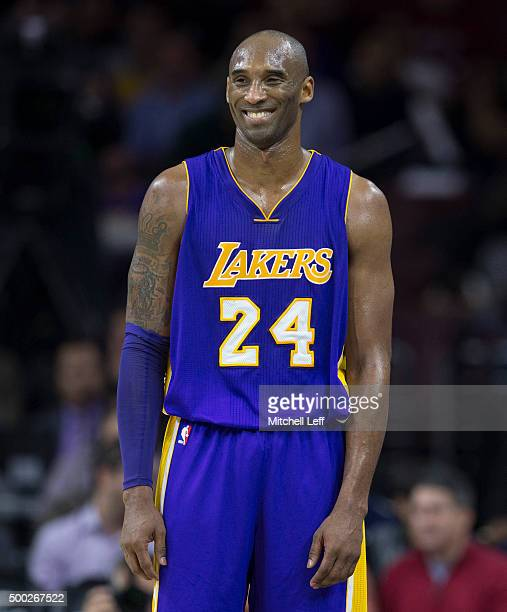 Kobe Bryant of the Los Angeles Lakers plays in the game against the Philadelphia 76ers on December 1 2015 at the Wells Fargo Center in Philadelphia...
