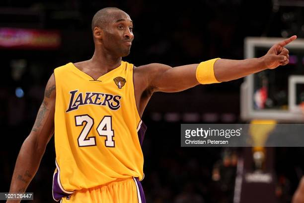 Kobe Bryant of the Los Angeles Lakers points across the court in the second half of Game Six of the 2010 NBA Finals against the Boston Celtics at...