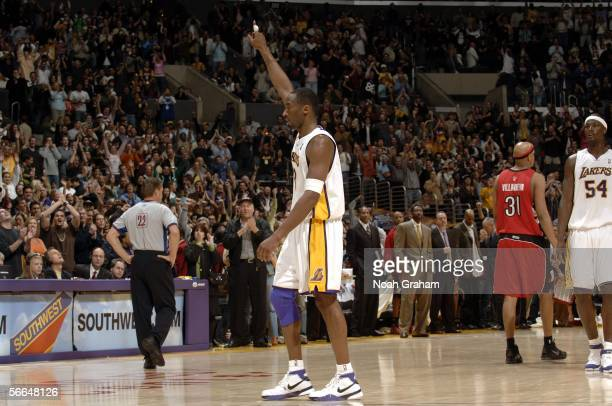 Kobe Bryant of the Los Angeles Lakers points in the air in a game he scored 81 points in against the Toronto Raptors on January 22 2006 at Staples...