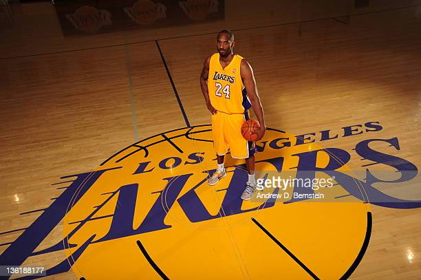 Kobe Bryant of the Los Angeles Lakers pose for a photo during Media Day at Toyota Sports Center on December 11 2011 in El Segundo California NOTE TO...