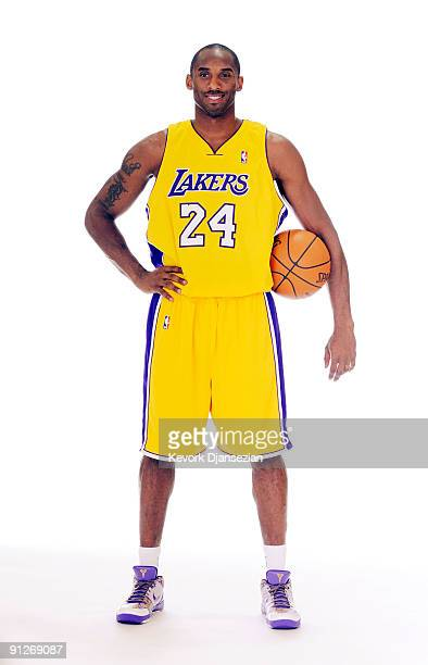 Kobe Bryant of the Los Angeles Lakers poses during Lakers media day at the Lakers training facility on September 29 2009 in El Segundo California