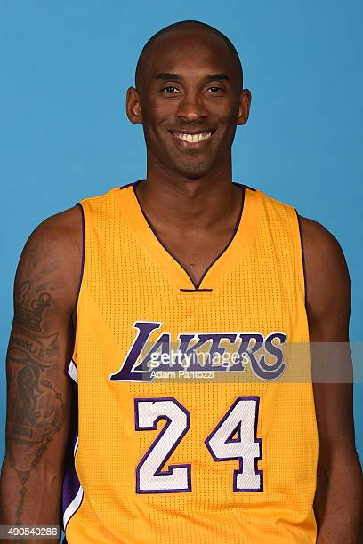 Kobe Bryant of the Los Angeles Lakers poses for a headshot during media day at Toyota Sports Center on September 28 2015 in El Segundo California...