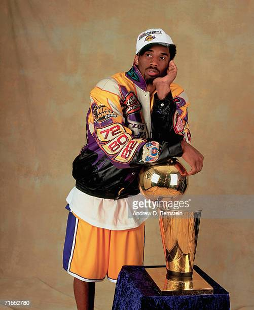 Kobe Bryant of the Los Angeles Lakers poses for a photo after winning the NBA Championship on June 19 2000 at the Staples Center in Los Angeles...