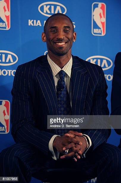 Kobe Bryant of the Los Angeles Lakers poses for a photo during the 200708 NBA Most Valuable Player Award press conference presented by Kia Motors at...