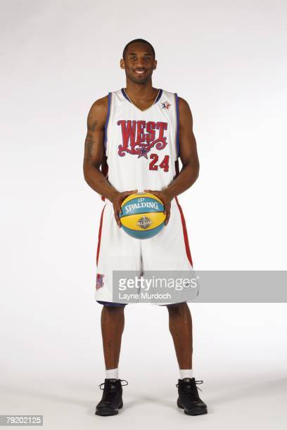 Kobe Bryant of the Los Angeles Lakers poses for a photo in his 2008 AllStar uniform on January 22 2008 at the Crecent Hotel in Dallas Texas NOTE TO...