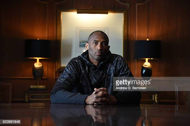 Kobe Bryant of the Los Angeles Lakers poses for a photo on April 7 2016 in New Orleans Louisiana NOTE TO USER User expressly acknowledges and agrees...