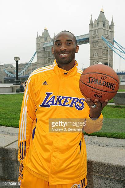Kobe Bryant of the Los Angeles Lakers poses for a picture in front of the London Bridge on October 4 2010 in London England NOTE TO USER User...