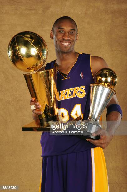 Kobe Bryant of the Los Angeles Lakers poses for a portrait after defeating the Orlando Magic in Game Five of the 2009 NBA Finals at Amway Arena on...