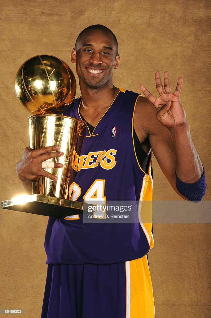 Kobe Bryant #24 of the Los Angeles Lakers poses for a portrait after defeating the Orlando Magic in Game Five of the 2009 NBA Finals at Amway Arena on June 14, 2009 in Orlando, Florida. The Los Angeles Lakers defeated the Orlando Magic 99-86.