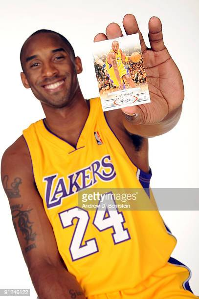 Kobe Bryant of the Los Angeles Lakers poses for a portrait as a spokesperson for Panini trading cards during 2009 NBA Media Day on September 29 2009...